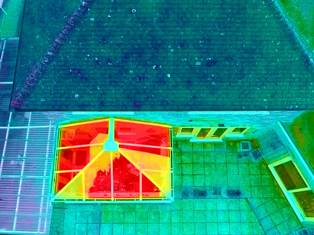 Thermal Drone Image of Conservatory Roof